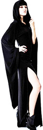 Killstar long black viscose elastane Conjuring hood dress with witchy bell sleeves, side slits
