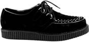 Pleaser black suede single soled d-ring lace-up interlace toe creeper