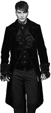 Devil Fashion mens' black velvet gothic jacket with ornamental cuffs