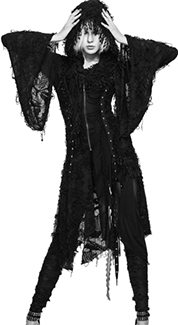 Devil Fashion gothic black hooded lace womens cloak jacket