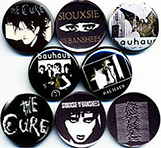 band buttons, badges, pins