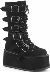 Black velvet women's Demonia 3 1/2 heel lace up front knee boot with platform sole, 6 buckle straps, spikes