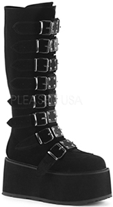 Black velvet women's Demonia knee high platform boot with 6 buckles, straps, back zip