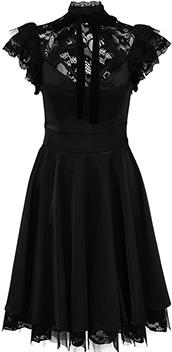 Killstar Dear Darkness Doll short stretch satin dress with lace yoke, short sleeves.