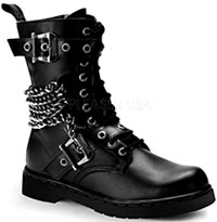Pleaser faux leather 14 hole defiant boots with chain and two buckle straps, inner side zip