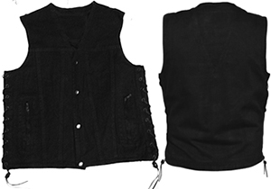 Black denim side laced button front moto vest