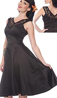 Living Dead Souls below knee black poly satin sleeveless dress with lace neckline