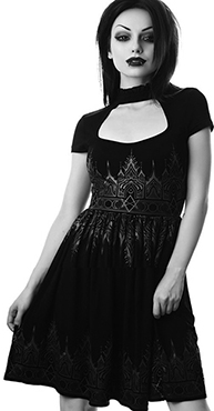 Killstar Duchess printed chiffon keyhole neck cap sleeve skater dress