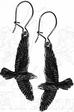 Alchemy English pewter black raven earring pair