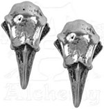 e359- Achemy English pewter Rabeschadel raven skull earrings