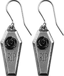 Alchemy of England English pewter RIP Rose coffin earrings