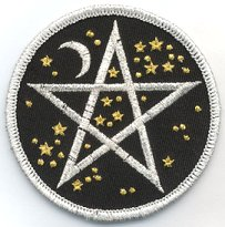 Starry pentagram iron on embroidered 3 inch patch