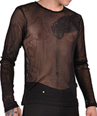 Tripp black long sleeve guys' fishnet pullover shirt