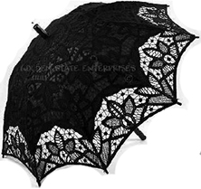 Golden State black battenburg lace parasol 18 inch with straight handle