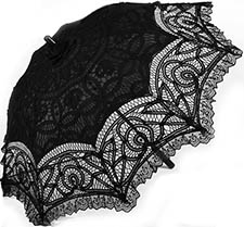 Black battenburg lace 19 inch parasol