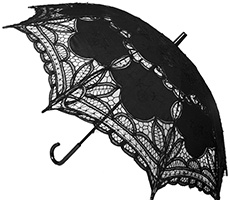 Black battenburg lace 22 inch parasol with curved handle