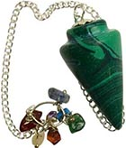 Conical bob pendulum carved from synthetic malachite with chakra stones on chain
