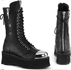 Pleaser black vinyl vegan leather guys' 14 eyelet lace up 2 3/4 inch platform ankle boot with black steel cap toe