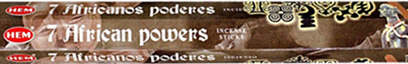 Hem 7 African Powers incense 10 inch 20 stick hex pack