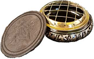 Azure GReen 2 3/4 black engraved brass round incense burner