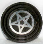 Azure Green black wood coaster incense burner inlaid with metal pentagram