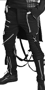 Tripp men's black cotton bumflap bondage pant with straps, zippers, bumflap