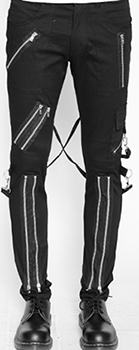 Tripp men's black cotton fitted bondage pants with zippers, straps