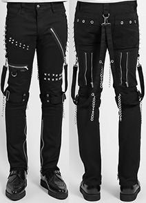 Tripp men's black cotton fitted bondage pants with zippers, straps, chain