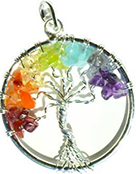 7 chakra tree of life crystal silver wire wrap necklace on black cord