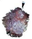 Amethyst flower silver plated necklace on black cord