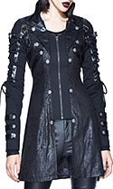 Restless and Wild gothic black vegan leather fitted womens' jacket with lace up arm detail