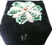 Black velvet green/gold sequined box from India
