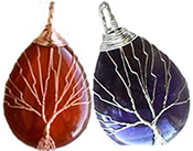 Tree of life wire wrapped semi precious necklace on black cord