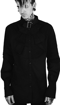 Killstar Occult Luxury men's Lestat Ruffled button up buckle collar shirt