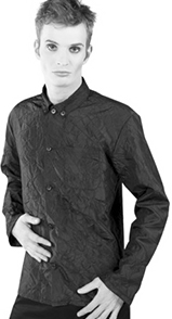 Mode WIchtig black crushed satin guys' long sleeve button up classic shirt