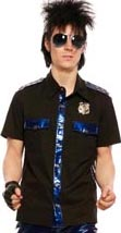 Lip Service guys black short sleeve cotton spandex cop shirt with removeable badge, blue contrast vinyl