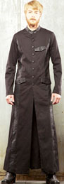 Lip Service Black Steam men's floor length duster cotton spandex coat with leatherette contrast details, covered buttons