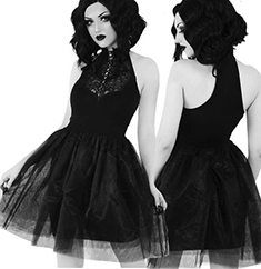 Killstar Nyte Nymph short racerback black chiffon party dress