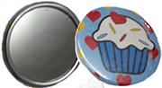 Small Oikitani hand mirror with cupcake. Fits in purse