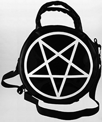 Killstar black vinyl pentagram handbag