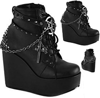 Demonia black pu faux leather 5 inch wedge Poison shoe with straps, studs, charms and chain