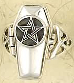 Nirvana sterling silver pentacle coffin poison ring