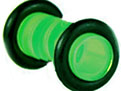 4 ga green lucite plug with black rubber o-rings