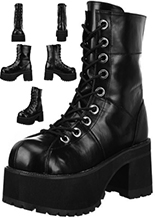 Black pu women's vegan Demonia calf boot with platform sole