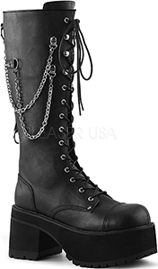 Black pu women's vegan platform Demonia knee boot with chain and side zip