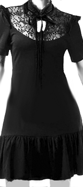 Killstar Raven Never Ruffle short black viscose nylon short sleeve dress with lace inset at collar
