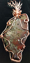 Red jasper copper wire wrap necklace