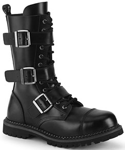 Pleaser black real leather 12 eyelet calf high 3 strap combat boots.