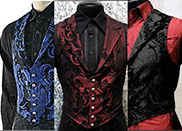 Shrine black or blk/red men's Victorian aristocrat velvet or tapestry vest