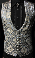 Shrine Monte Cristo men's vest in grey/blue brocade